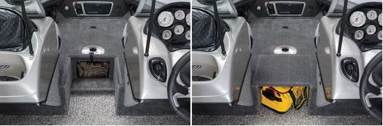Рядом с рулевой консолью есть дополнительные отсделения для хранения
