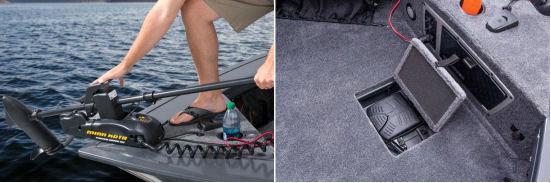 Управление троллинговым мотором и контейнер для живца на носу катера